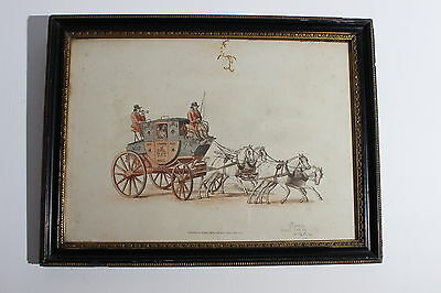 William Henry Pyne -Hand Coloured & Signed Aquatint - Royal Mail Stagecoach 1805