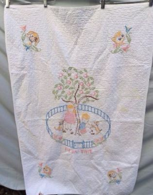 Vintage Handmade Cross Stitch Baby Quilt Playtime Dog Cat Finished 35x54