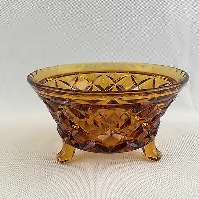 Vintage Amber Pressed Round Glass Pattern Three Footed Candy Dessert Dish Bowl