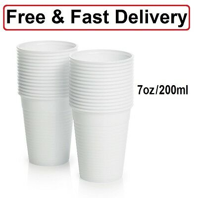 White Plastic Disposable Cups 7oz / 200ml Drinking Glass Vending Style Cup 180cc