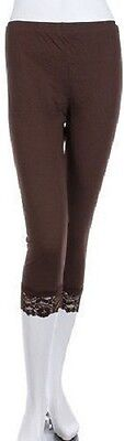 Ladies Cropped 3/4 Length Leggings with Lace Trim Under Knee Brown All Sizes