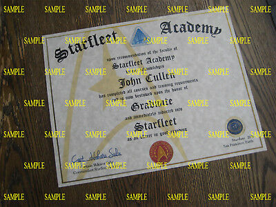 Star Trek - Starfleet Academy Diploma [ T2 ] Certificate +Free photo diplay