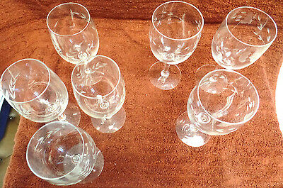 "Stem Glasses  Lot Of 6-   2 Are 3"" Across Top --4 Are 2 1/2"" Across Top"