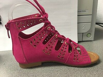 New Girl/'s Sandals Shoes FlatsLace-Up Rhinest Flat Sandal Shoes 9-13 Tod /& 1-4
