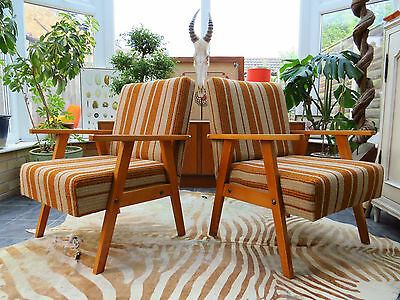 Pair Of Striped East German / Danish Style Cocktail Lounge Armchairs 1970 Jn16/1