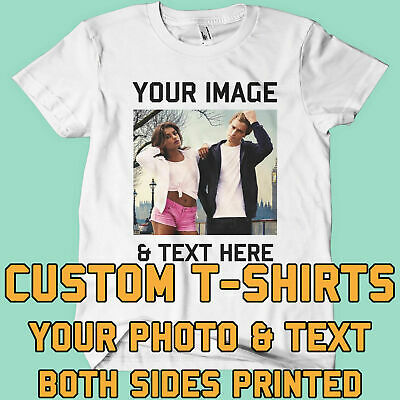 Your Image Text Photo Both Sides - Custom T Shirt Printing Personalised Stag Hen