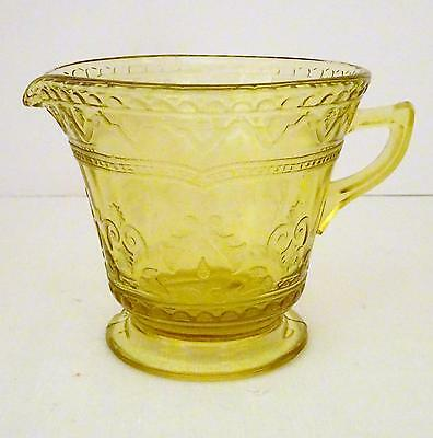 Vintage PATRICIAN SPOKE Depression FEDERAL GLASS Yellow Amber Etched Creamer VGC