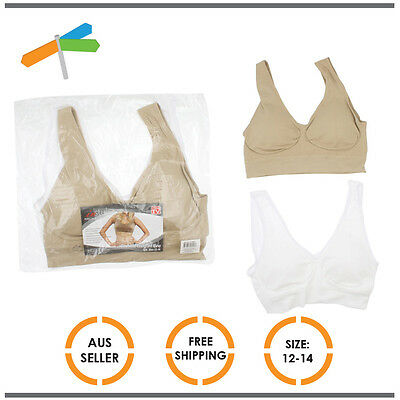 Comfort Bra Padded Support Crop Top Sports Stretch 2 Pack Size 12-14 Clothes
