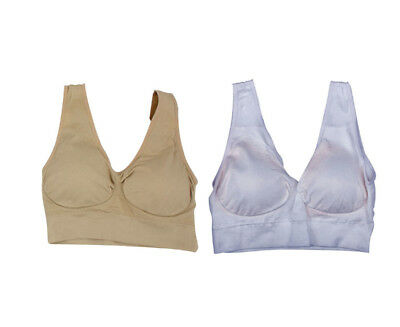 Comfort Bra Padded Support Crop Top Sports Stretch 2 Pack Size 14-16 Clothes