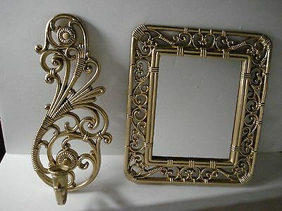 2 PCS Home Interiors Homco Gold Syroco Mirror & Candle Holder Sconce - Repainted