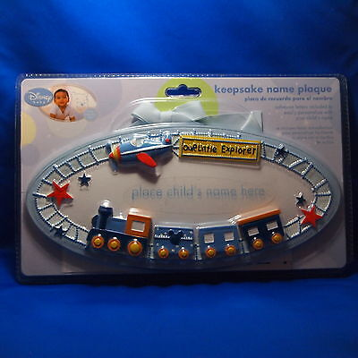 Disney Baby Boys Keepsake Personalize Name Plaque Blue Trains Airplane