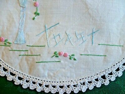 Vintage Hand Embroidered Toast Small Doiley With White Hand Crocheted Edge