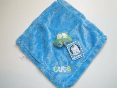 NWT Gerber Cute Blue And Green Car Security Blanket Plush Baby Toy Lovey