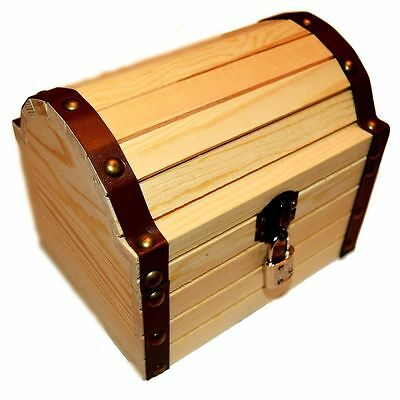 Craftistics Wooden Treasure Chest Box with a Working Lock and Pair of Keys