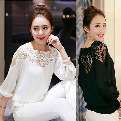 NEW Womens Loose Long Sleeve Chiffon Lace Casual Shirt Tops Fashion Blouse