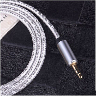 Long Metal 3.5mm Male to Male Port Car Aux Stereo Audio Cable for Phone iPod US