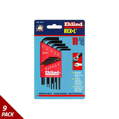 "Eklind Tool Company Hex Key Set 11pc SAE Short .050-1/4"" [9 Pack]"