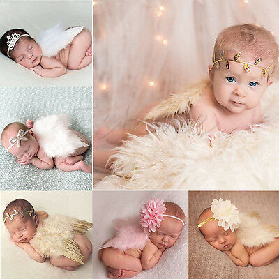 Sweet Newborn Baby Girls Wings&Headband Costume Birthday Party Photo Prop Outfit