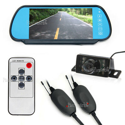 "Wireless Car Rear View Kit 7"" Lcd Mirror Monitor + Ir Reversing Camera 7Led"
