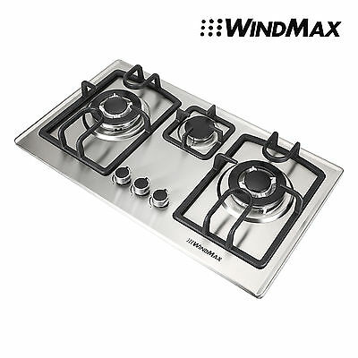 Windmax 70cm Silver GAS Stainless Steel Cooktop Stove Cook Top 3 With Burner Wok