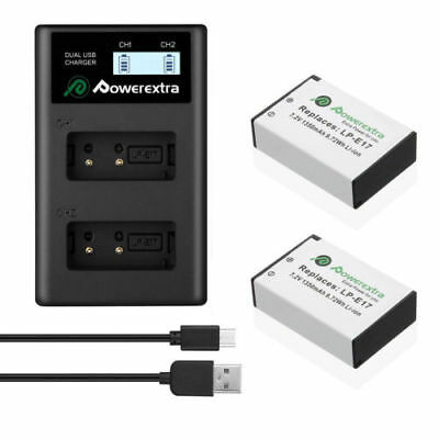 2Pack LP-E17 Battery + AC Charger For Canon M3 750D 760D Kiss X8i T6i T6s Camera