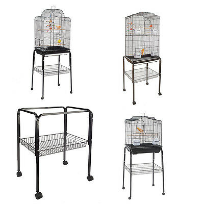 C1 Bird Stand and Cage Black for Small Birds Budgie Canary Finch