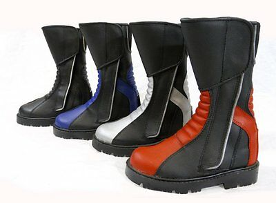 Kids Childs Childrens Motorcycle Motorbike Sport Bike Leather Boot  Red - T