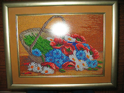 Picture embroidery beads handmade 36x26 cm