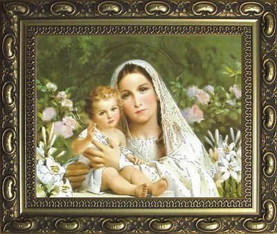 Madonna And Child Virgin Mary And Baby Jesus Framed Picture - Gold Moulded Frame