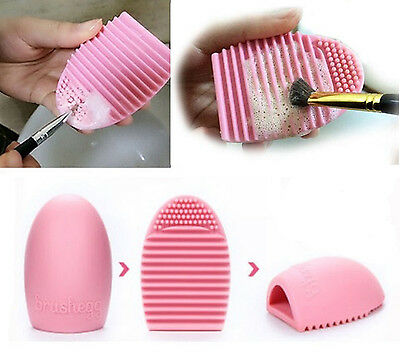 PINK Makeup Brushes Scrubber Cleaning Finger Glove Silicone Cleaner Washing Tool