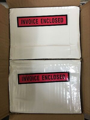 1000 Invoice Enclosed White Clear Printed Document Pouch Sticker 115x150mm