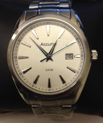 Accurist Men Stainless Steel Silver Dial Date Watch MB1038S*