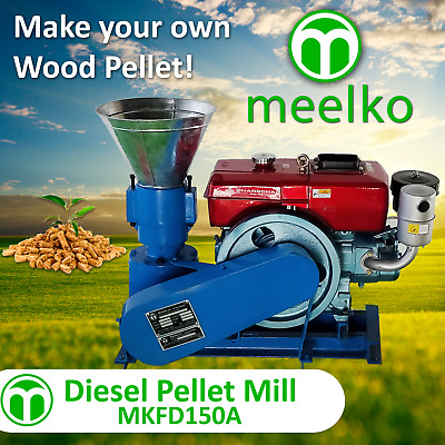 PELLET MILL 8 HP DIESEL ENGINE PELLET PRESS 150 mm 100/150kg hr USA STOCK