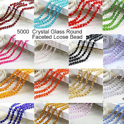 100PC 5000 4mm Multi Color Crystal  Glass Round Faceted Loose Bead Jewelry 5000