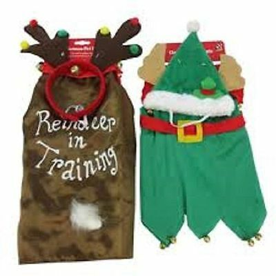 Christmas Xmas Elf Or Reindeer Pet Dog Fancy Dress Costume Outfit Clothes