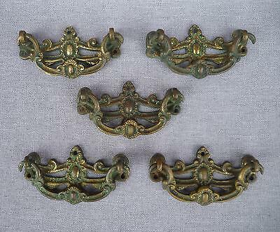 5 antique english edwardian drawer handles set signed dated 1894 made of ormolu