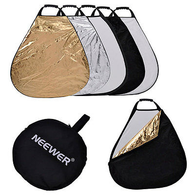 """5in1 24"""" Handheld Triangular Collapsible Light Photography Studio Reflector USA"""