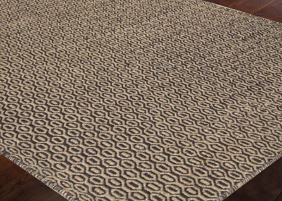 Hand Knotted Flat Weave Wool Area Rug Reversible Modern 3x5 5x8 8x10 Black Beige