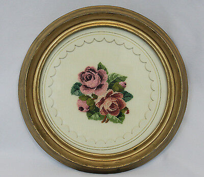 Vintage Round Framed Finished Needlepoint Petit Point Pink Roses Floral Bouquet