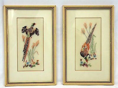 Pair of Vintage Hand Made Framed Finished Pheasant Petit Point Needlework Birds