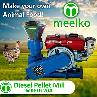 PELLET MILL 8 HP DIESEL ENGINE MIAMI USA SHIPPING (4mm chickens)