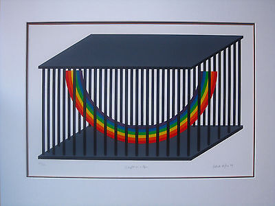 "PATRICK HUGHES Limited Ed. SCREENPRINT Signed ! ""Caught in a Cage"" 1979 RAINBOW"