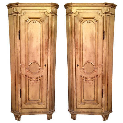Pair 18th c. Italian Venetian Painted Corner Cupboards