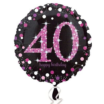 "18"" Round PINK 40th BIRTHDAY Foil Helium BALLOON Party Celebration Decoration 40"