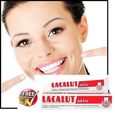 LACALUT aktiv  х75ml - Toothpaste Made in Germany -new, FREE DELIVERY