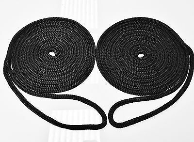 2 x 4.6m x 12mm Mooring Lines,Dock Lines,Mooring Rope Silky Soft Black pack of 2