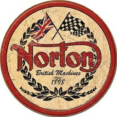 Norton British Motorcycles Logo Novelty ROUND TIN SIGN Vintage Garage Ad