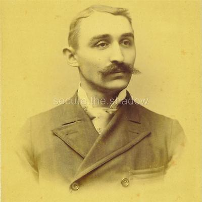 CABINET CARD PHOTO: Dapper SMARTLY DRESSED Young MAN w LG Handlebar MUSTACHE