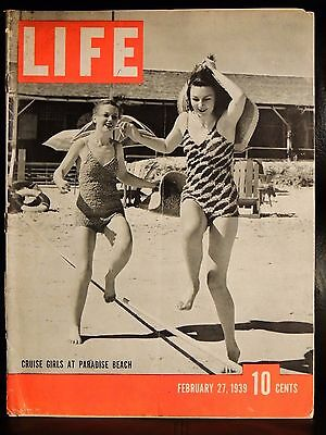 LIFE February 27,1939 Cruise Girls at Paradise Beach / England Test Bomb Shelter