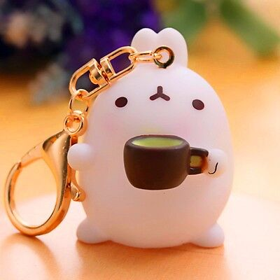 Cute Rabbit Coffee Cup Molang Keyring Charm Pendant Keychain Bag Key Ring Chain